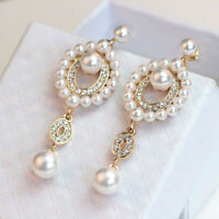 Fashion Women Pearl Rhinestone Long Wedding Bridal Party Drop Stud Earrings