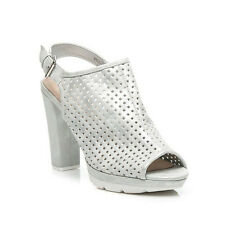 Womens Platform Block Heel PEEP Toe Cut out Ankle Sandals Ladies Shoes Size 3-8 UK 4 Silver