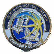 PIN PAIR enamel NASA Space Shuttle STS-7 CHALLENGER Sally Ride Hauck Crippen vtg