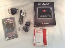 Droid 2 Global Accessories Pack NO PHONE Screen Covers Cords Books Plug Ins Box