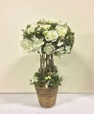 New Design Potted 33cm Artificial Topiary / Plant Rose & Gyp Cream