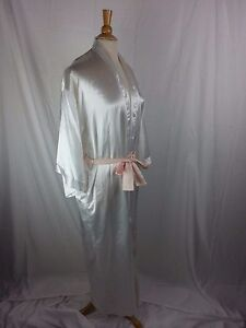 Frederick's of Hollywood White Robe Gown Peach Sash Poly M Medium