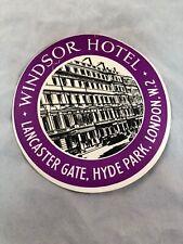Vintage Windsor Hotel Lancaster Gate Hyde Park London W2 Luggage Tag Purple