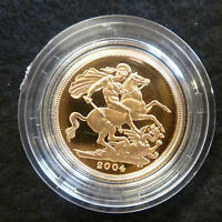 2004 Gold Royal Mint Proof Full Sovereign Solid 22Ct Boxed As Issued