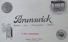 PUBLICITE BRUNSWICK BILLARDS PHONOGRAPHES JEUX DISQUES DE 1925 FRENCH AD PUB