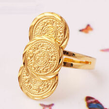 Women Gold Filled Coin Design Weding Ring Adjustable Size 7-10# Popular Jewelry
