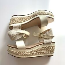 Dune Womens Strappy Off White Beige Wedges UK Size 5 Patent Leather Heels