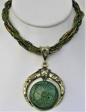 Iridized Bead Necklace Choker Rhinestone Crystal Moon Pendant Marbled Green