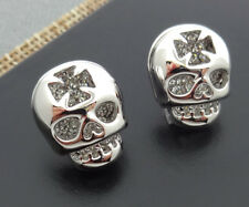 CZ Skull Earring Stud Gothic Skull Earring Pave Skeleton Skull Stud Earring