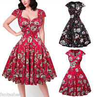 Retro Floral Womens Rockabilly Vintage 50s 60s Swing Party Cocktail Pin Up Dress