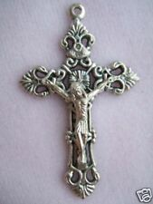 "Catholic Crucifix Medal Fancy Ornate Filigree 2"" Nice size for rosary"
