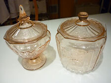 Vintage 2 Covered Candy + Cookie Jar Pink Depression Glass MAYFAIR OPEN ROSE