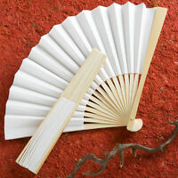 25 White Folding Fans Elegant Wedding Favor Bridal Shower Favors Bulk Lot