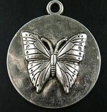 16pcs B155 Tibetan Silver butterfly Coin Pendants 44x38x4mm