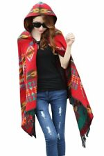 New American Indian Navajo design Hooded shawl poncho Red