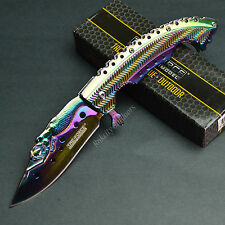 """8 5/8"""" Mermaid Rainbow Finish Spring Assisted Tactical Linerlock Knife New!"""