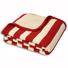 Knitted Style Striped Throw with a Fleece Reverse in Red & Cream 140cm x 180cm
