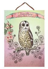 Papaya Art - Owl Dreamer Panel Print - Boho Vintage Wall Art