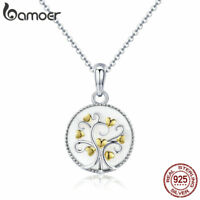 BAMOER Elegance S925 Sterling silver Necklace Tree Of Life Pandent Women Jewelry