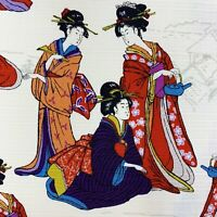 Geisha Geiko fabric, Japanese ladies, ivory cream oriental asian cotton