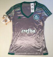 """Short Femme Adidas Palmeiras football shirt kit 3rd Petit 'AWAY Argent BNWT Brésil"""""""