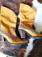 Tan suede, snakeskin and studs cowboy/westen boots rrp £100 size 6 boho, festiva