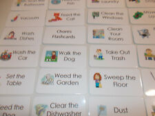 Laminated Chore Chart Picture and Word Flash Cards. Preschool job responsibility