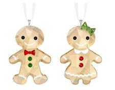 Nib Swarovski Christmas Ornaments Gingerbread Couple #5281766 Ripped Box