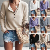 Women Loose Knitted Button Up Jumper Sweater Ladies Casual Knitwear Blouse Tops
