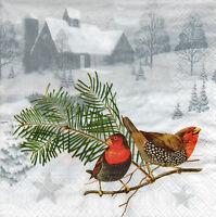 4 Motivservietten Servietten Napkins Tovaglioli 33x33cm Vögel im Winter (1032)