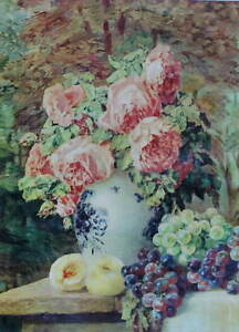 Vace of Roses Grapes and peaches