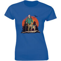 And She Lived Happily Ever After Hiking Girl With Dog Vintage Women's T-shirt