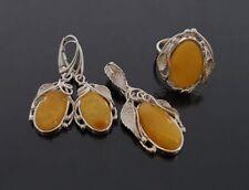 925 Silber Set Anhänger mit Ohrringe, Ring, Butterscotch Bernstein, NEU (SB821)