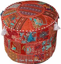 "Handmade 18"" Round Burgundy Ottoman Pouf Stool Chair Decorative Pouffe Indian"