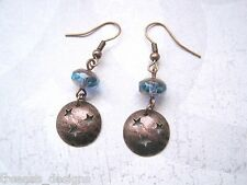 COPPER STAR MOON PLANET DISC Blue Crystal Bead Drop Earrings XMAS Gift Celestial