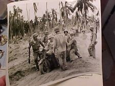 ORIGINAL WWII USCG PRESS PHOTO - GIs WITH CAPTURED JAPANESE MOTORCYCLE AT MAKIN