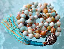 Blue Amazonite Hand Knotted Mala Beads Necklace - Energized Karma Nirvana