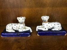 New Staffordshire Style Pair of Laying Dogs Dalmatians Decorative Porcelain