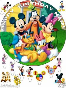 """EDIBLE MICKEY/MINNIE MOUSE ROUND 7,5""""& 12 STANDING 1,2"""" BIRTHDAY CAKE TOPPERS"""