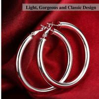 925 Sterling Silver Plated Thick Shiny Hollow Round Tube Circle Hoop Earrings