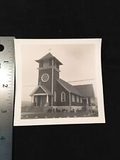 1940's Photo Christian Church Building Cross Stairs