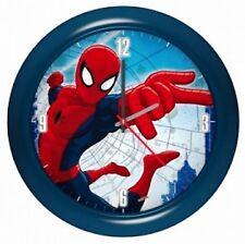Marvel Spider-Man Kinder Wanduhr Blau 25,5 cm Durchmesser Kunststoff Gehäuse Neu