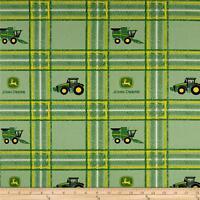 "John Deere Tractor Plaid Multi Green premium 100% Cotton Fabric Remnant 26"""