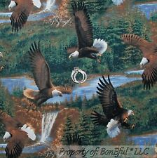 BonEful Fabric FQ Cotton Quilt Green Eagle Mountain Tree Bird Scenic Waterfall L
