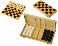 Checkers with Chess Board Game in Box Black and White Set of 24 Draughts