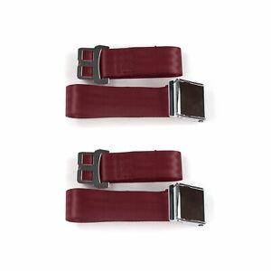 Early Cars 1941 - 1948 Airplane 2pt Burgandy Lap Bucket Seat Belt Kit - 2 Belts