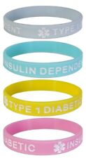 TYPE 1 DIABETIC Medical Alert ID Silicone Bracelets Adult Size (4 Pack) PASTELS