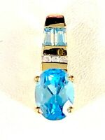 10K SOLID YELLOW GOLD 1.7 CT OVAL SWISS BLUE TOPAZ NATURAL DIAMOND PENDANT