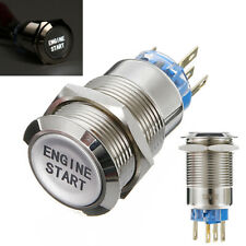 12V 19mm Waterproof Car Metal Momentary Engine Start Push Button Switch LED Tool