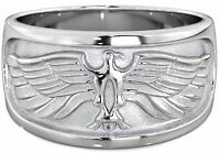 NEW Heavy Mens 925 SOLID Sterling Silver Eagle Wedding Ring 11mm +Gift Box